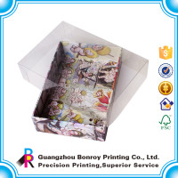 Printed custom package cardboard box with clear plastic/PVC lid