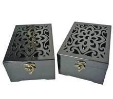 SAWTRU Flower Laser Engrave Cutting Glossy Finish Wooden Perfume Box With Acrylic for Arab