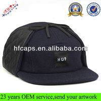 Fashion warm 5 panel hat/cap wool winter custom 5 panel snapback hat with earflaps