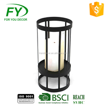 Ml-1860 Black Iron Ramadan Lantern With Glass Tube For Home Or Garden Decoration