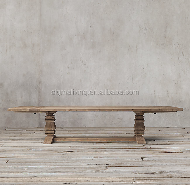 Hot sale WOOD TRESTLE RECTANGULAR EXTENSION DINING TABLE