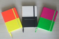 Fluorescence Neon PU cream 70gsm paper with elastic notebook