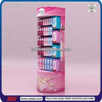 TSD-C627 round cardboard display case with hook/supermarket hook cardboard stand/folding cardboard shelves for veet cream