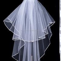 in stocking Elegant White 2T elbow ribbon edged tulle decent bridal veil for wedding