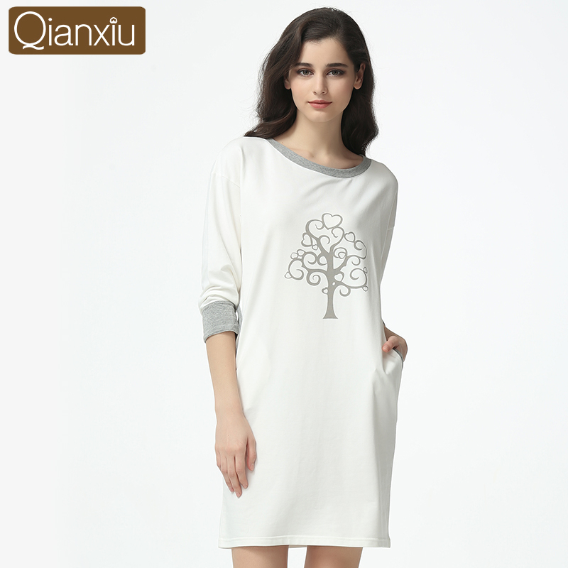 2017 Good Qianxiu Long Sleeved Nightgown Elegant Women Girl Sleepwear Cotton Homewear Comfortable Lounge Wear