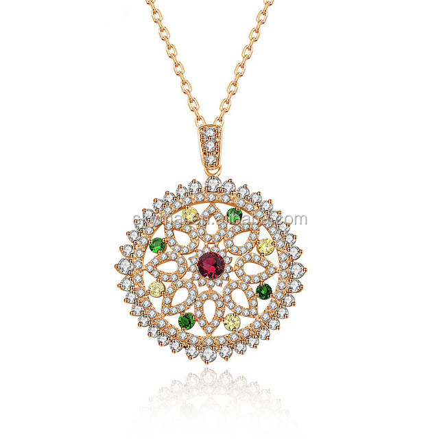 Europe Design Luxury Vintage Necklace Rose Gold-Color Multi Cubic Zircon Micro Paved Big Round Pendant Necklace