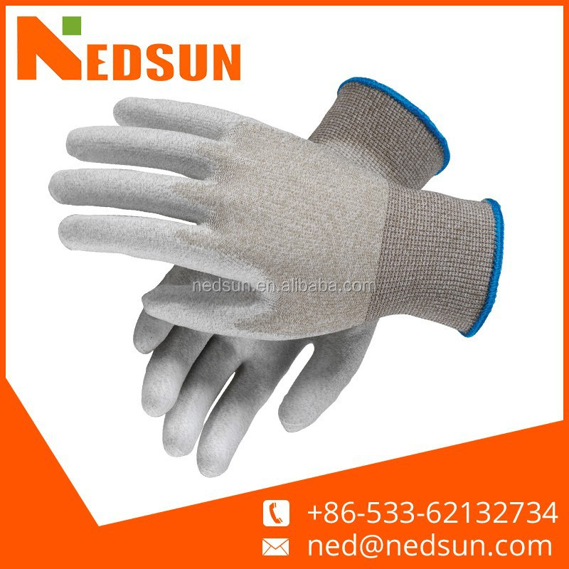 Carbon fiber pu coated electrostatic gloves