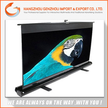 2015 foldable floor standing projection screen / rear holographic floor pull up projection