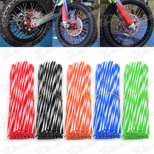 Two Double Twin Dual Color Spoke Skin Wraps Covers Tube 24cm For Dirt Pit Bike Off Road Motorcycle Motocross Enduro