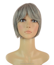 pure virgin grey hair fringe hairpiece clip in virgin human hair bangs extension