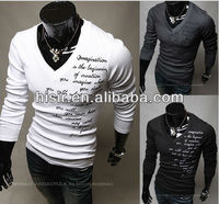 2013 new men's fashion V-neck long-sleeved thick warm letters embroidered t-shirt T02