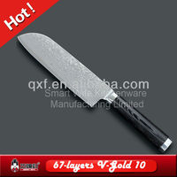 VG-10 damascus santoku chef knife with mirror finishing