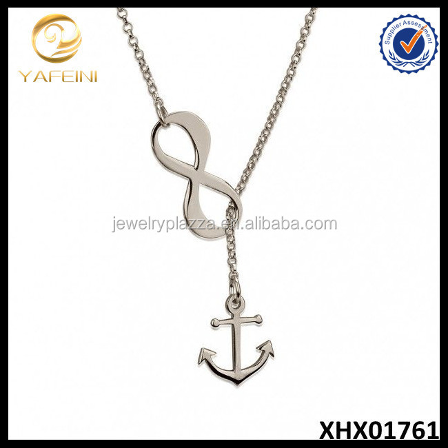 Sterling Silver Infinity Anchor Y Shaped Necklace