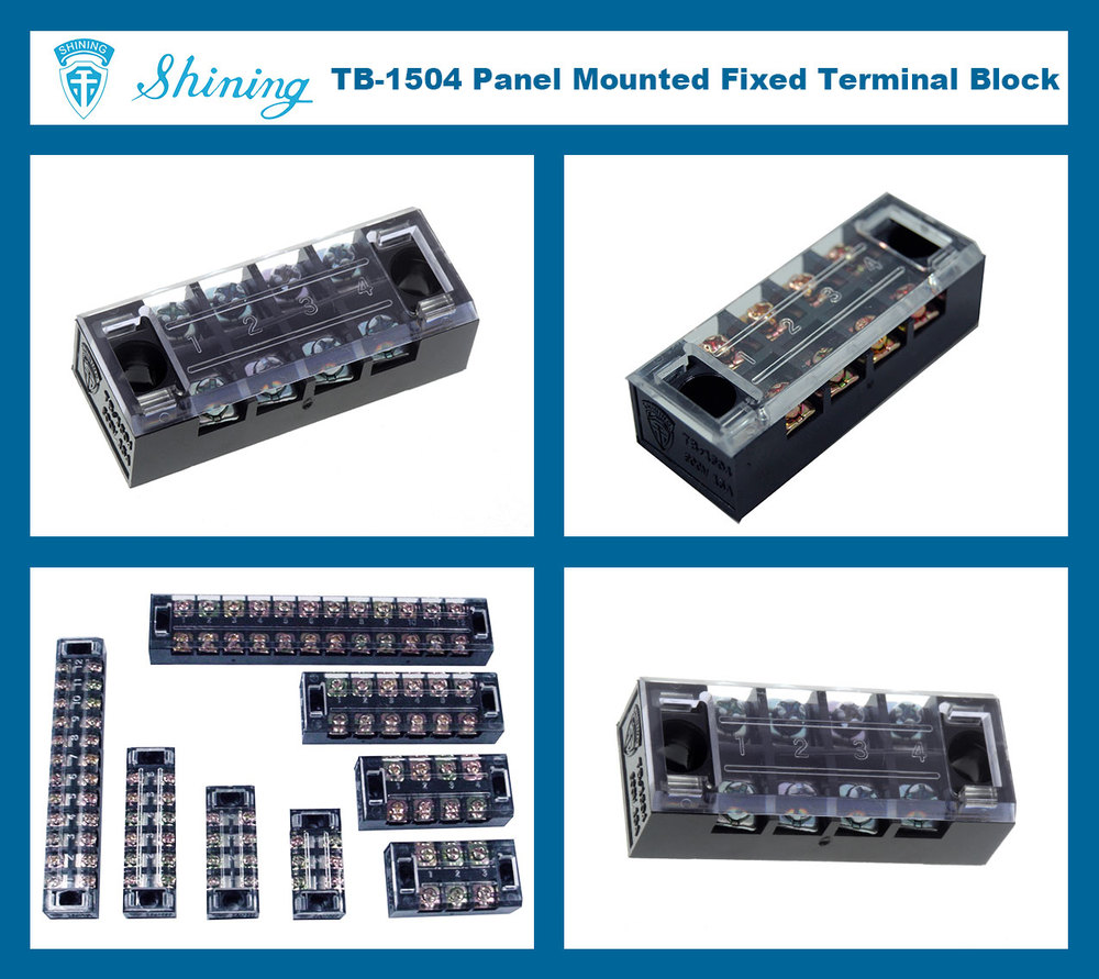 TB-1504 M3 Screw 35A Fixed Barrier 4 Pin Shorting Terminal Block