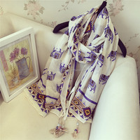 2016 spring elephant print scarf big shawl long style with bead