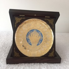 Antiquated and exquisite china wood crafts Metal Plate Wooden Box