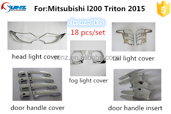 New arrival ABS plastic chrome tail light cover for <strong>Mitsubishi</strong> <strong>L200</strong> Triton 2015 full chromed kis handle cover accessories <strong>cars</strong>