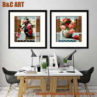 Framed Picture Wall Art Painting Modern Rose Flower Canvas Printing for Office Decor