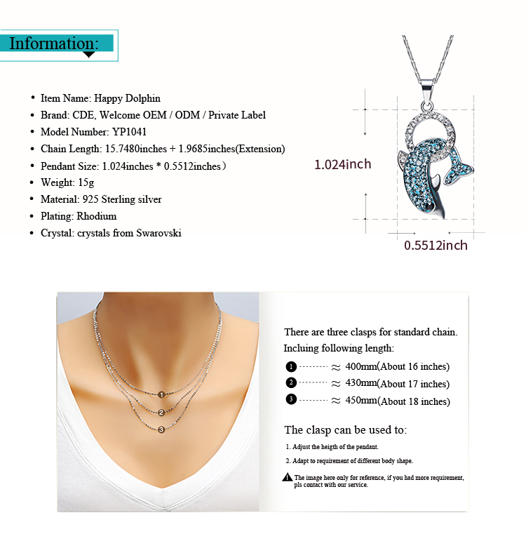 CDE Guangzhou China crystals from Swarovski jewelry factory bulk wholesale 925 sterling silver fashion dolphin pendant necklace