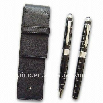 Black Grid Metal Ballpoint Pen And Roller Pen Set Packed In Pu Leather Gift Pen Pouch