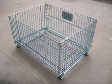 Powder Coating Folding Wire Mesh Cage On Wheels