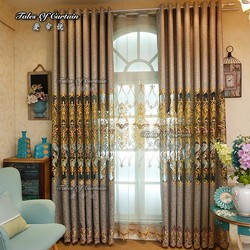 fancy living room curtains with translucent flower embroidery fabric