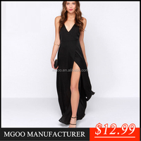 Sexy black chiffon maxi dress 2015 high-end fashion deep v-neck dress design for woman