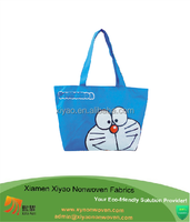 Custom Cartoon Blue Large Doraemon natural canvas shopping bag