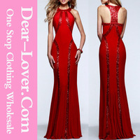 Best Lady Sequin Trim Red Jersey Latest Design Formal Evening Gown