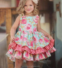 cheap wholesale fancy flower little girl boutique summer dress