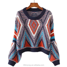 KS30570A Vintage Geometric Pattern Knit Loose Sweater for young girls