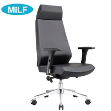 High back quality manager ergonomic computer PU swivel desk office chair with Nylon base Black