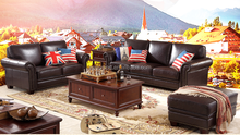 New American real leather sofa high quality living room furniture sectional sofa