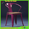 (SP-MC039W) Factory supply colorful metal wooden stackable used cafe chair