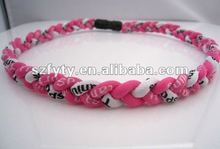 Pink White Black 3 ropes braided titanium necklace sport necklaces