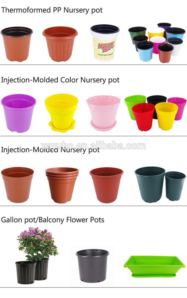 Pink round plastic flower pot plant nursery. garden furniture . plant nursery . plant pot