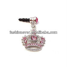Headphone Plug Crown Charm for Apple iPhones, iPad, iPod touch, Pink Rhinestones