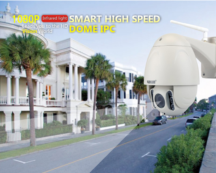 WANSCAM HW0045 2MP Outdoor Dome 5x Zoom Wifi IP Camera Built-in 16GB SD Card IR 80m Onvif