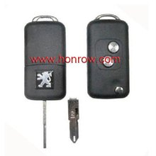 Highest Quality and Hot-selling Peugoet 206 flip remote 2button remote key shell with free shipping