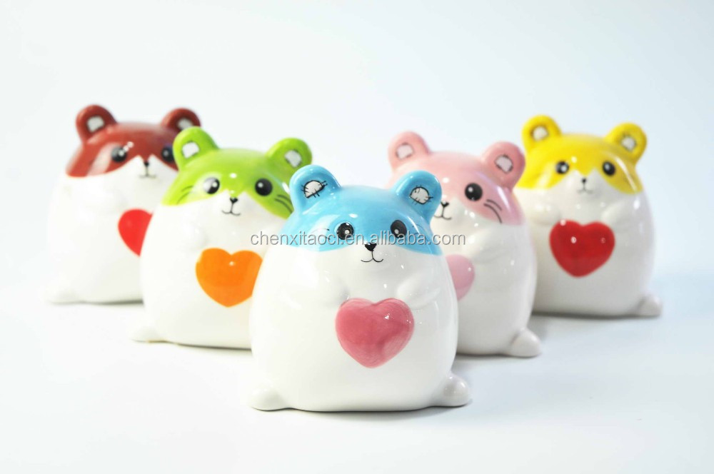 Wholesale Ceramic Piggy Bank with Pig Shape, All kinds of Colorful Pig Piggy Bank