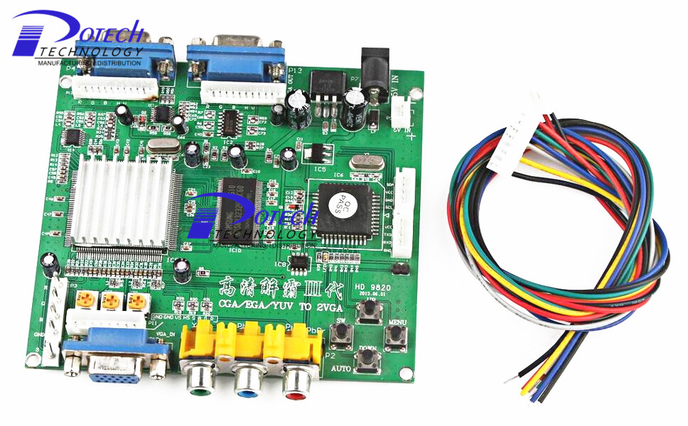 Electronic vga to cga 9820 converter board