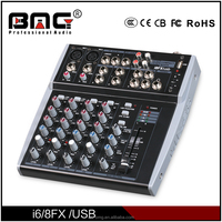 China Factory OEM 4/6/8 Channels Mini Audio Mixer with USB