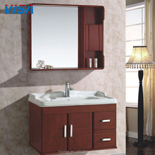 Good supplier solid oak wood modern with mirror furniture for bathroom cabinet