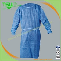 daily or surgical use disposable non-woven isolation gowns with knitted cuff