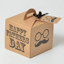 Handmade brown paper gift box for cake custom pie box the gift box with handle