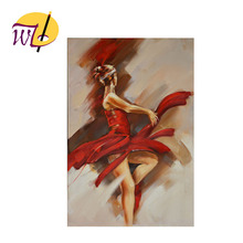 China Factory Beautiful Handmade Sex Ballet Dancing Girl Oil Painting on Canvas