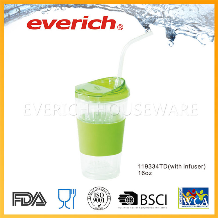 Promotional Custom Plain plastic fruit infuser water bottle