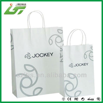 OEM black printing white kraft shopping paper bag with paper handle