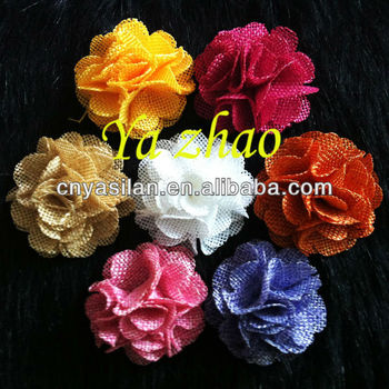 2'' Mini Burlap Fabric Flower IN STOCK For Kid's Headbands Dress Hats