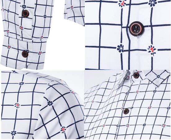 2018 Fashionable casual plaids or checks men's shirts printed flower wear in Spring and Autumn